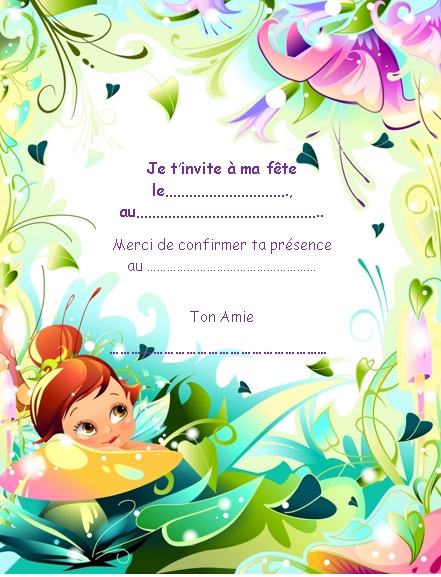 invitation fille fée