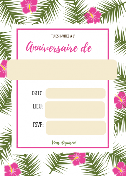 Carte D Invitation Anniversaire Fille