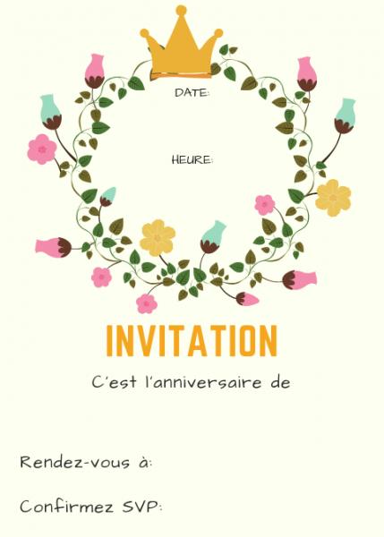 Invitation Anniversaire Fille Gratuite A Imprimer