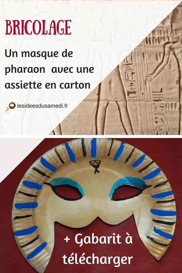 bricolage masque deguisement egypte