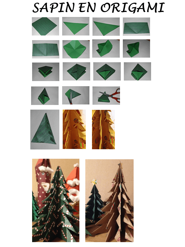 D coration de table de no l tuto sapin origami - Sapin origami facile ...