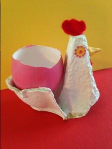 cocotte de paques avec carton d'oeuf