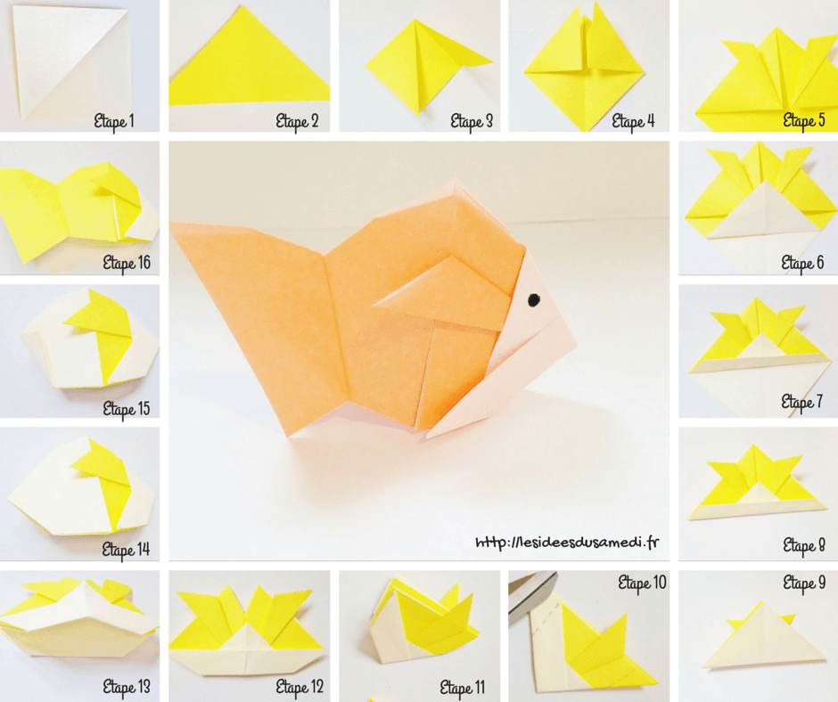 origami facile a faire poisson