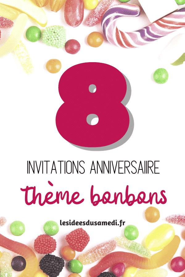 invitations anniversaire theme bonbons lesideesdusamedi