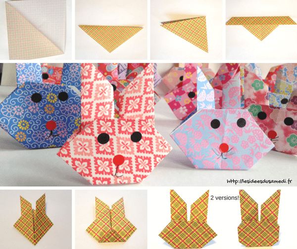 Lapin en origami facile id al comme d co de p ques - Origami simple enfant ...