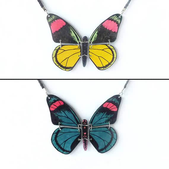 collier cd recyclé réversible papillon savousepate