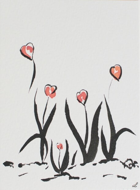carte zen fleurs coeur lelacreation