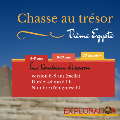 chasse au tresor telechargeable egypte 6-8 ans