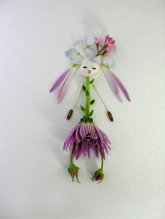 fille fleurs landart