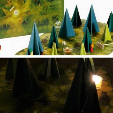Le jeu des ombres de la forêt: jeu coopératif, en bois