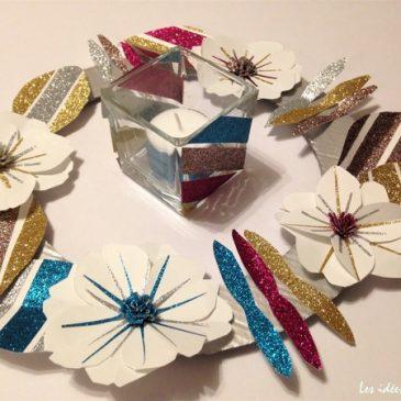 Faire une couronne de Noël en papier et en paillettes