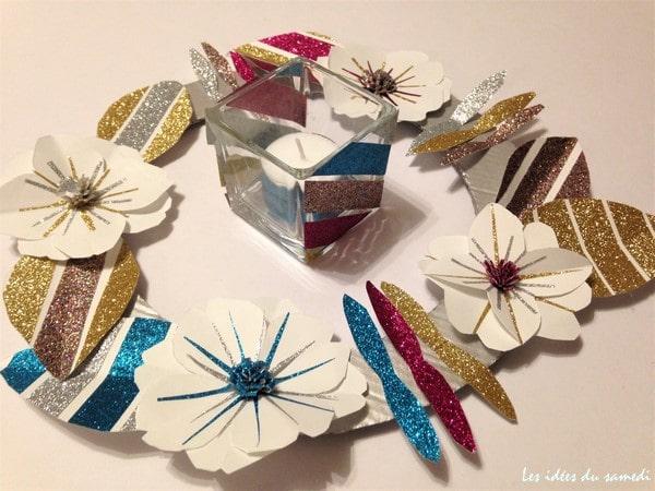 Faire une couronne de no l en papier et en paillettes - Faire couronne de noel ...
