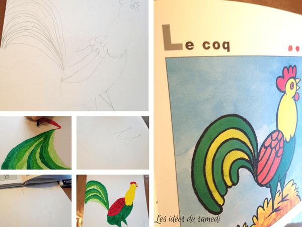Activit s pour l 39 ann e du coq dessin collage quilling en recup - Coq a dessiner ...