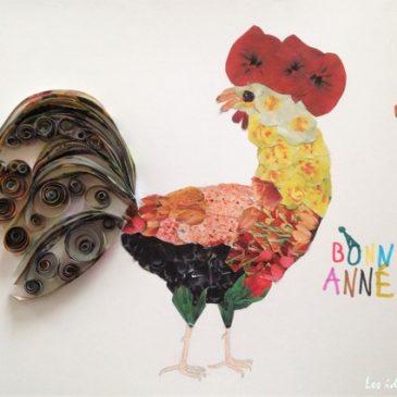 Activités pour l'année du Coq: dessin, collage, quilling en recup