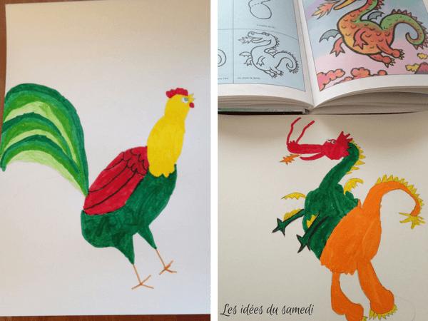comment dessiner un coq et un dragon pour nouvel an chinois