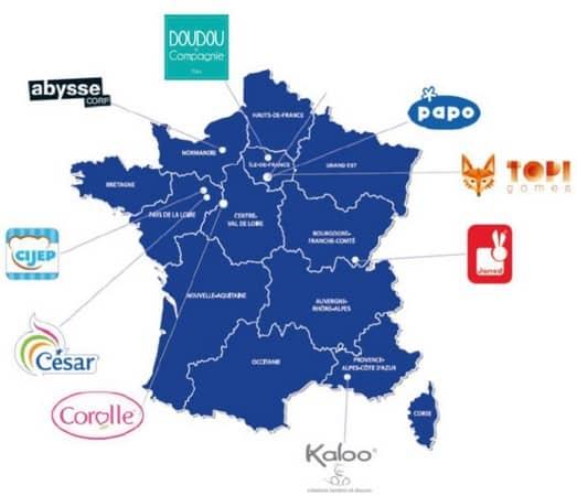 Cartes des créateurs français (source ACFJF)
