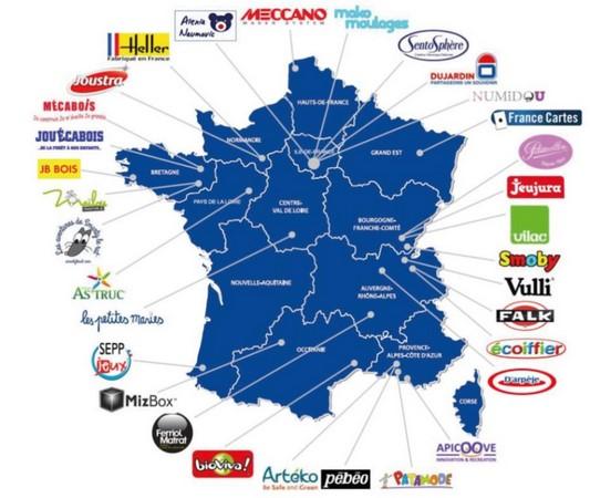 Cartes des fabricants français (source ACFJF)