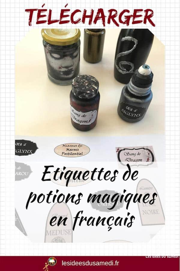 etiquettes potions magiques imprimer gratuit