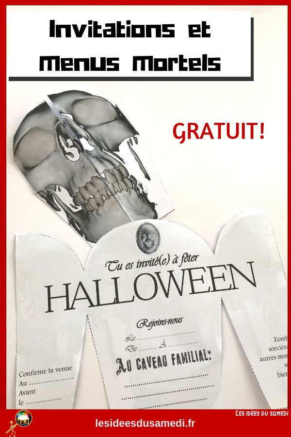 invitation tete de mort halloween
