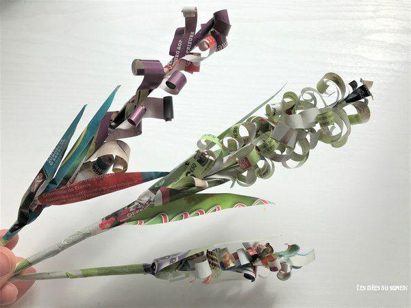 fabriquer fleurs jacinthe en magazine recycle