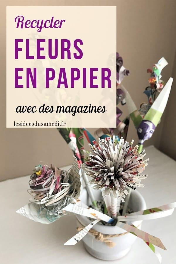 recycler magazines fleurs en papier avec enfants