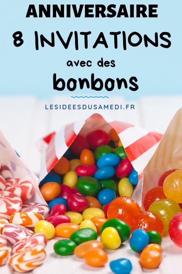 8 invitations avec des bonbons pour anniversaire enfants