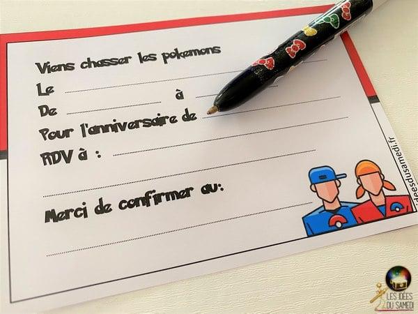 invitation anniversaire pokemon dresseurs telecharger