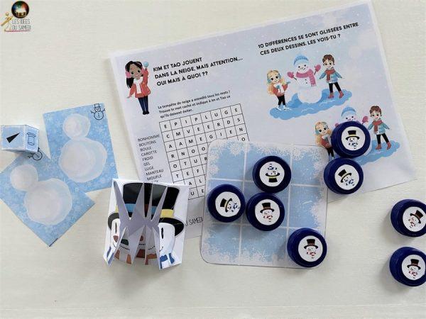 jeux imprimer hiver cahier vacances