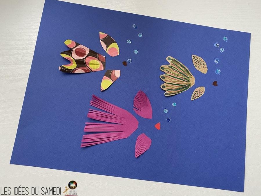 collage queue nageoire poisson bouchon