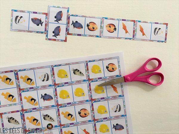 jeu de dominos sur les poissons exotiques