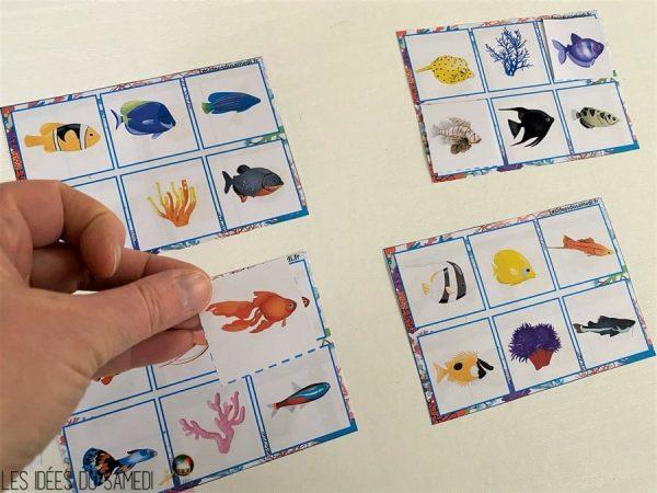 jeu de loto bingo sur les poissons exotiques