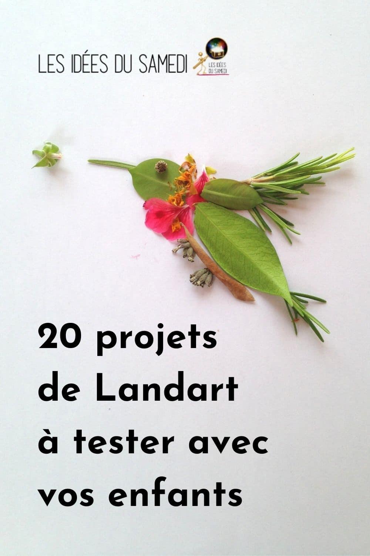colibri en feuilles et fleurs comme exemple de projet landart fait avec les enfants