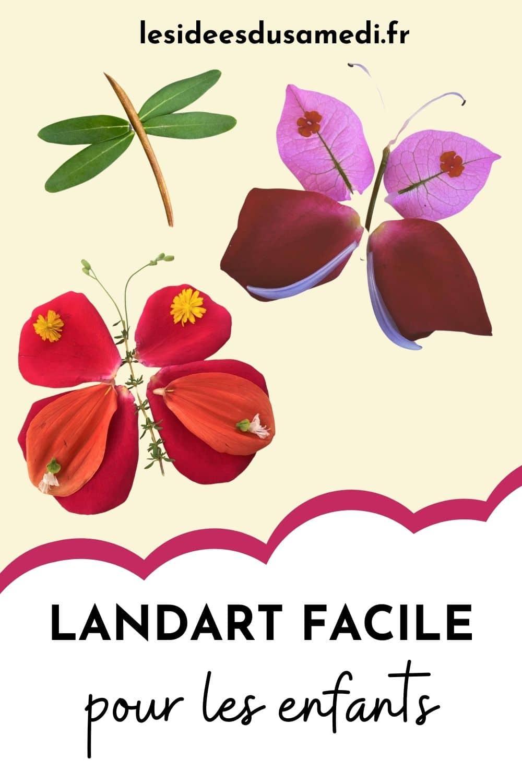 papillons fleuris pour du landart facile à faire avec les enfants
